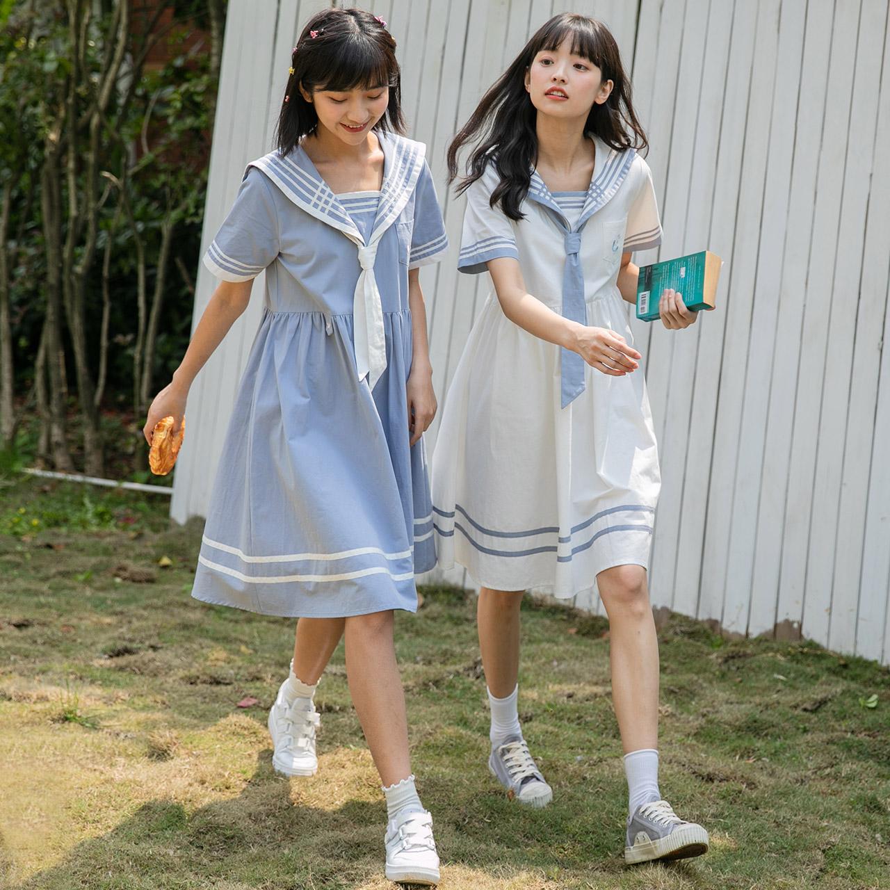 尔给少女日系海军风连衣裙闺蜜装夏季宽松2020新款裙子森系学生