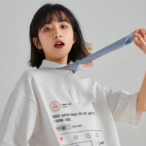 尔给复古polo衫女港风少女感领带半袖t恤女2020年新款宽松夏韩版