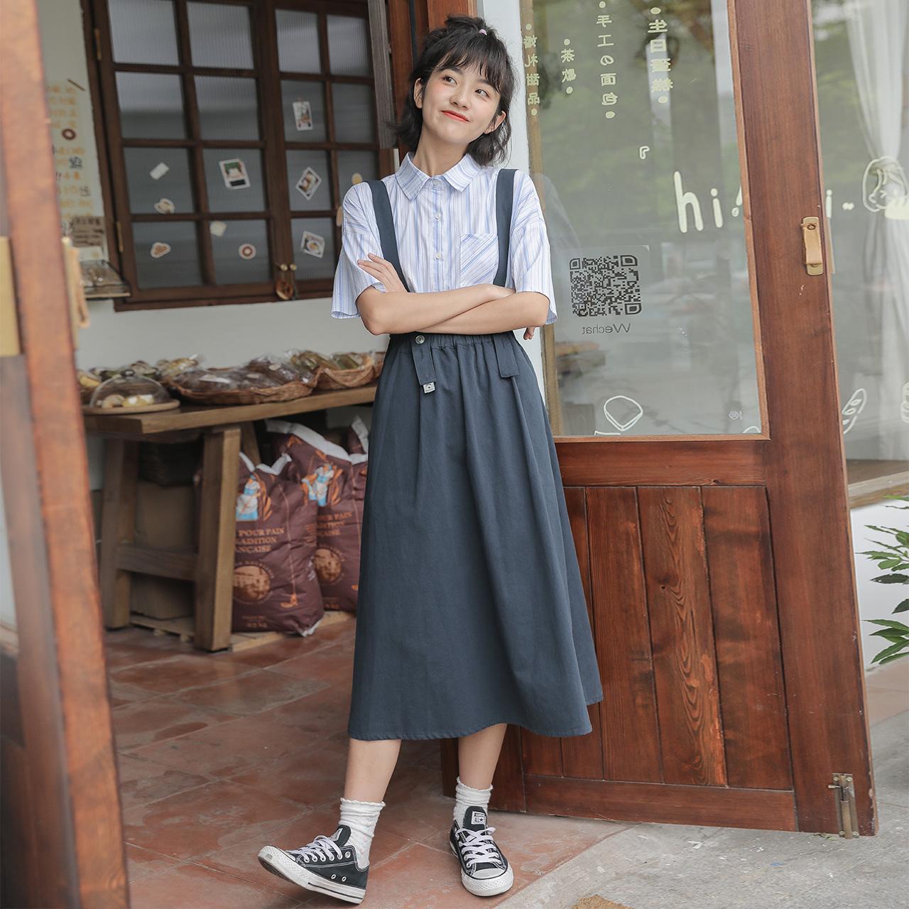 爾給日系山本風背帶裙女夏韓版寬松小清新學生夏季小個子學院風