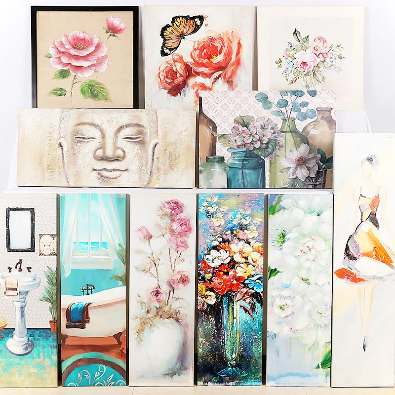 竖版挂画抽象壁画手绘油画欧式客厅玄关背景墙花卉人物风景装饰画