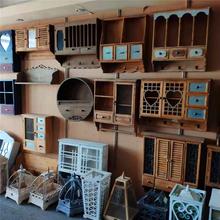 美式复古做旧实木储物置物架壁柜吊柜衣帽挂钩民宿样板间创意设计