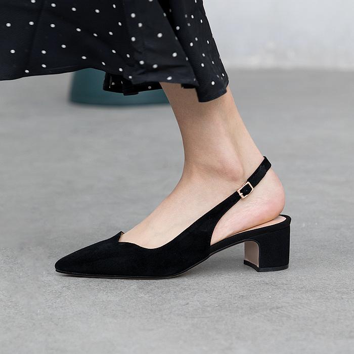 法式高跟鞋2019夏季女鞋尖头包脚粗跟真皮墨绿色中跟凉鞋白色鞋女