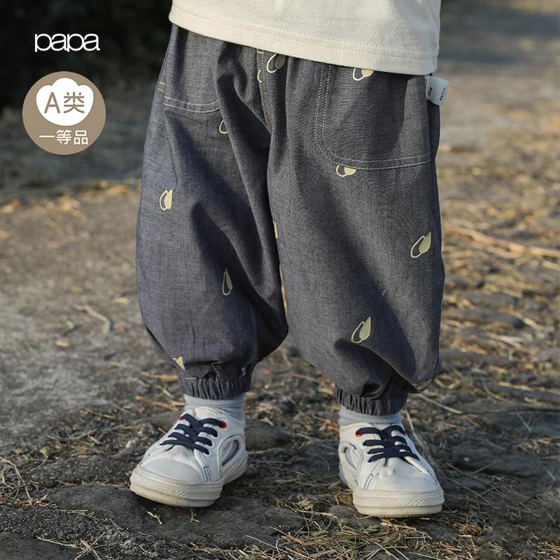 papa爬爬春季纯棉男女宝宝裤子婴儿儿童休闲印花外出长裤0-5岁