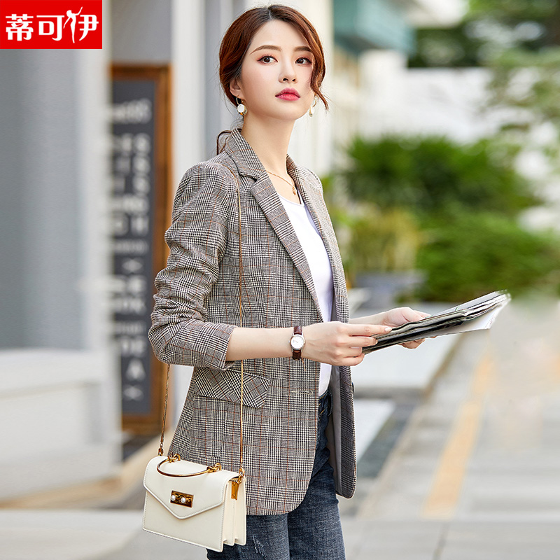 Small suit women's coat 2020 new Plaid leisure spring and autumn retro net red suit top Korean British style