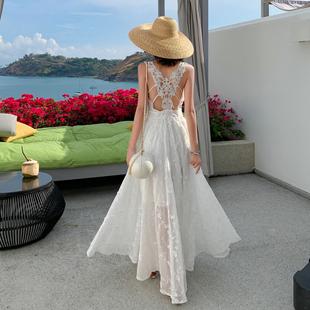 三亚海边度假裙显瘦超仙雪纺性感蕾丝露背连衣裙子马尔代夫沙滩裙