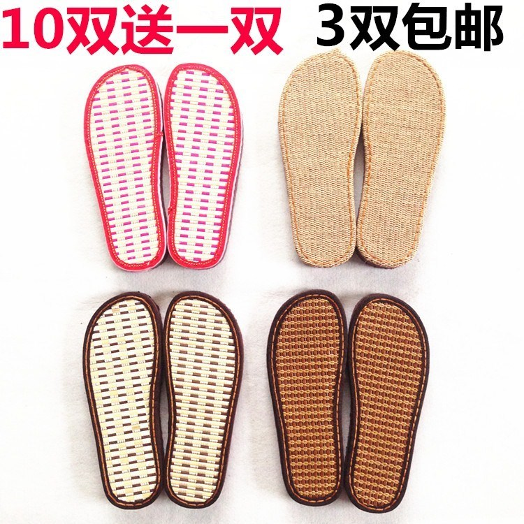 Ruziniu genuine sole flat heel linen bamboo cool ancient rattan summer bottom hand woven sandal slipper sole