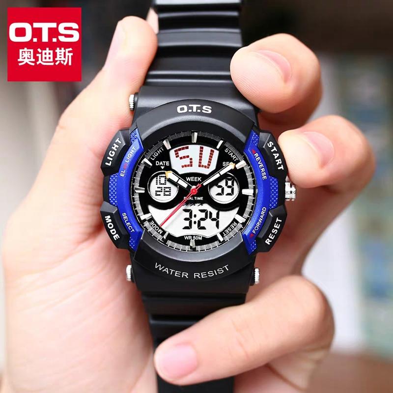 子供用腕時計男子防水夜光男子電子時計潮時女子屋外運動青少年腕時計