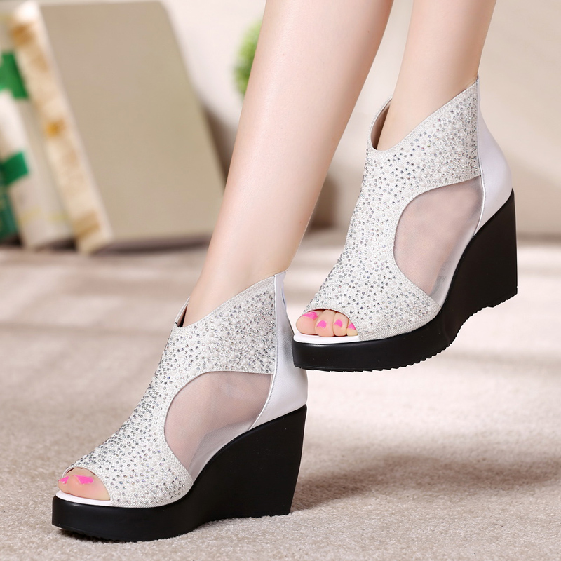 Thick soled new leather mesh sandals womens summer slope heel shoes high heel fish mouth mesh womens shoes fashion sandals small size