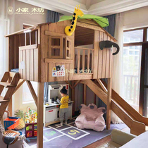 美式实木树屋床儿童秘密基地床双层原木阁楼床公主城堡床带滑梯床