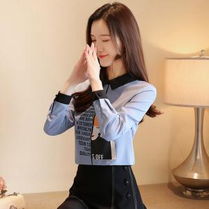 實拍9368設計感字母印花女孩雪紡衫2019秋款韓版寬松長袖小衫上衣