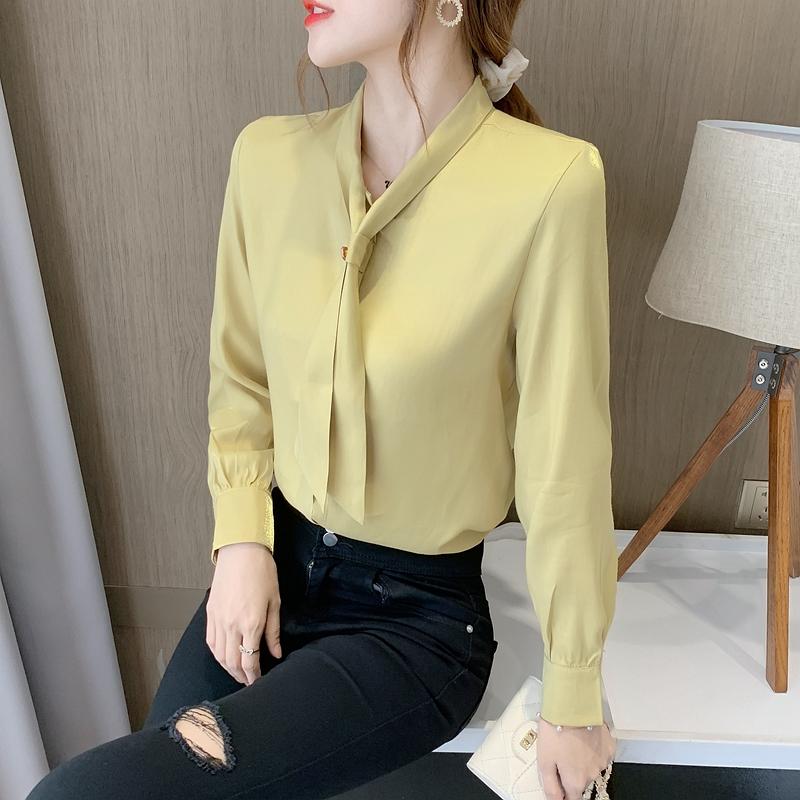 衬衫女长袖雪纺衫系带钉珠衬衣设计感小众上衣打底衫