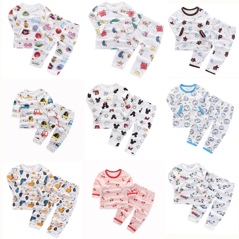 Childrens pajamas summer thin long sleeve suit mens and womens baby air conditioning clothing bamboo fiber baby household clothing underwear