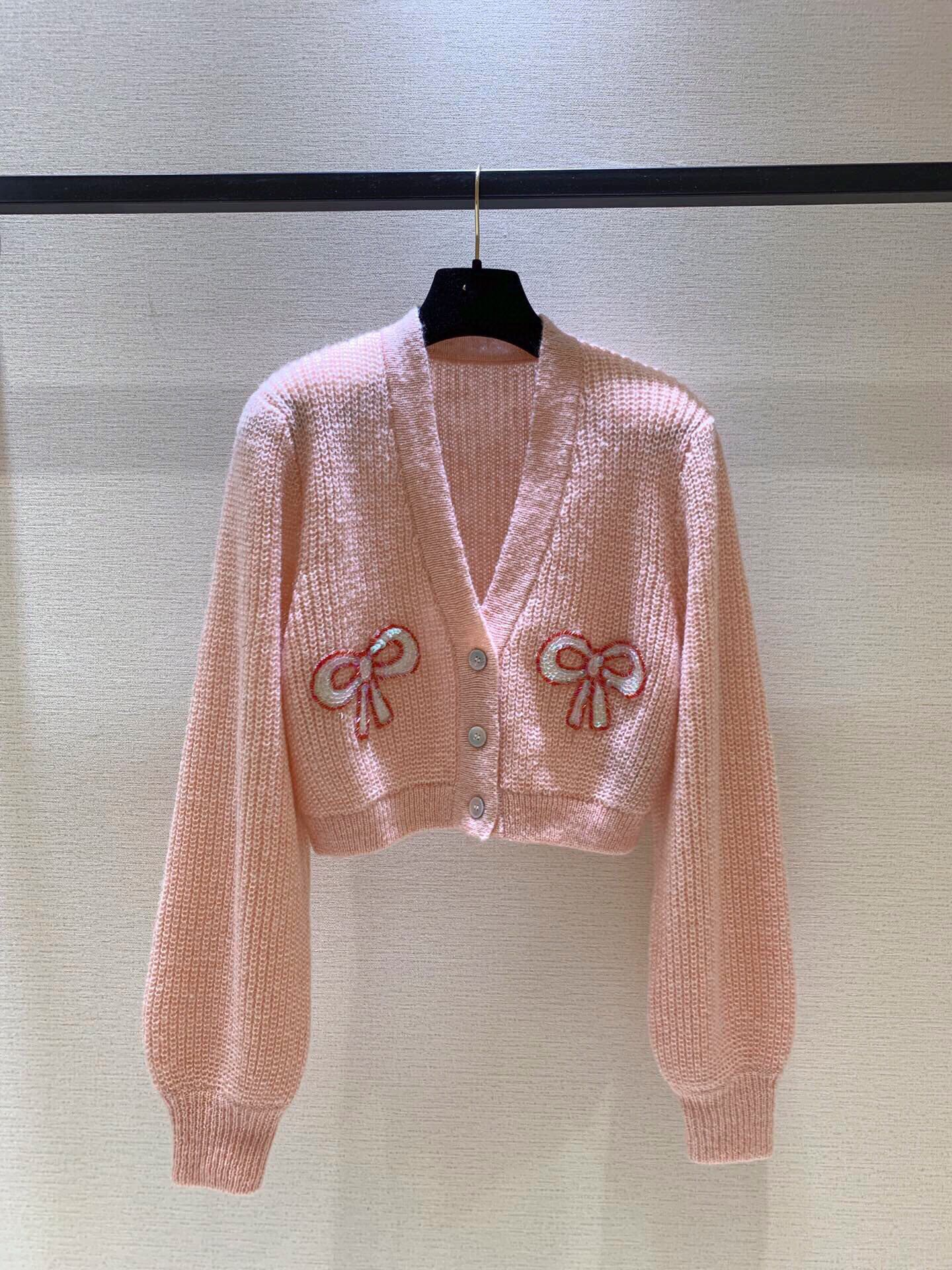 European and American custom shell button sequins decorated Mohair blended cardigan apricot pink knitted coat
