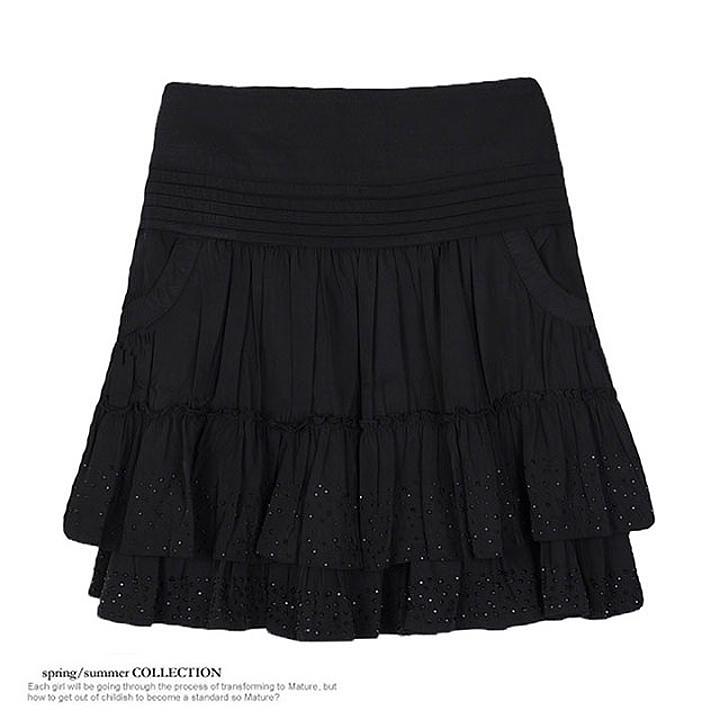 春夏新款黑色短裙带兜显瘦荷叶边女裙子百搭半身裙