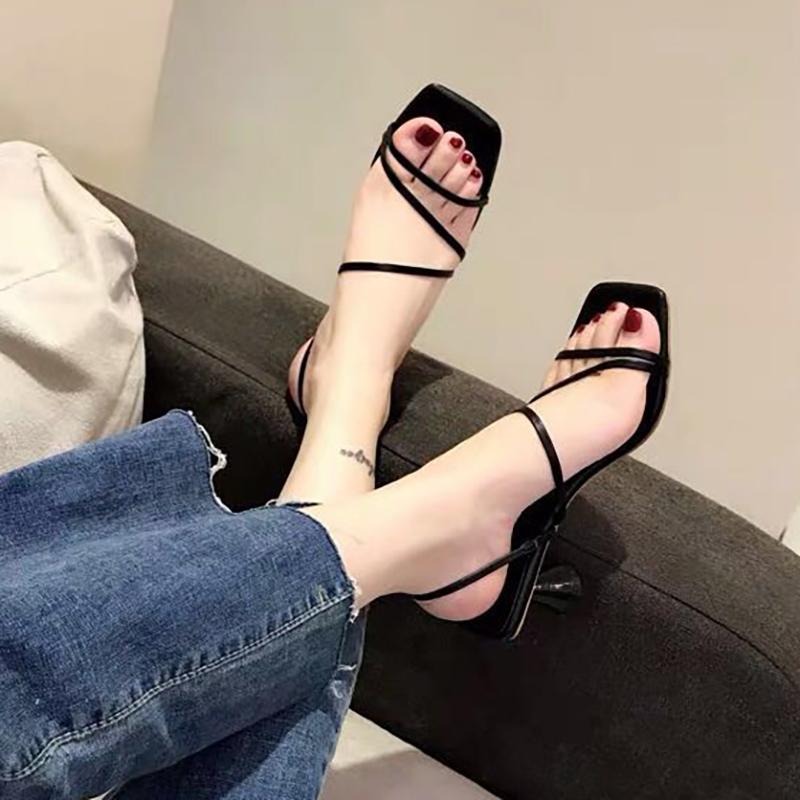 一鞋两穿高跟鞋2019新款夏粗跟绑带凉鞋女31 32 33小码 41-43大码