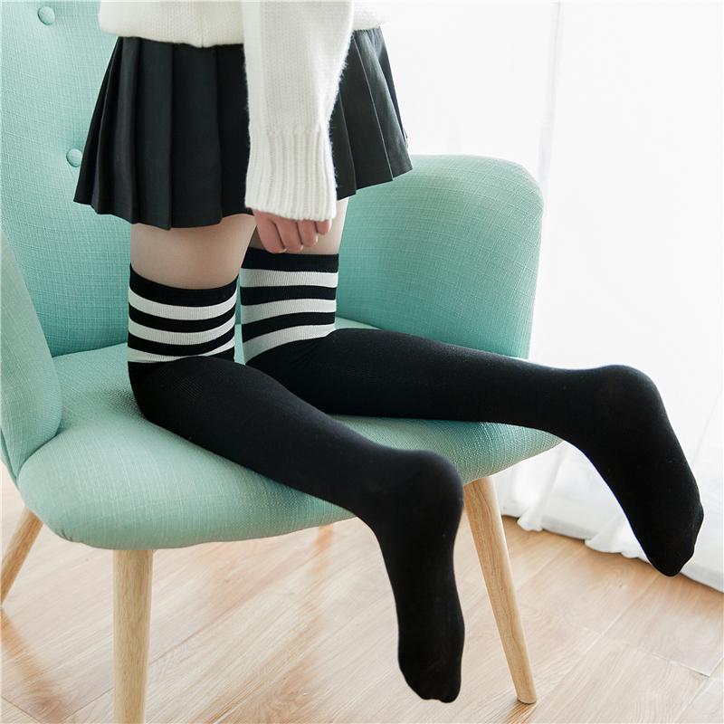 过膝袜女日系春秋薄款韩国学院风长筒jk制服袜子高筒长袜女潮街头