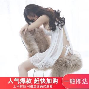 夏季蕾丝透明性感睡裙诱惑露背睡衣套装透明网纱吊牌情趣胖MM大码