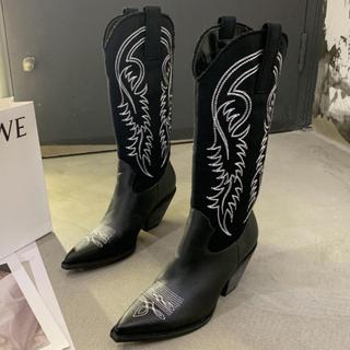 夏季女鞋新款2021爆款炸街尖头长靴高筒西部靴 蒙古马靴女骑士靴