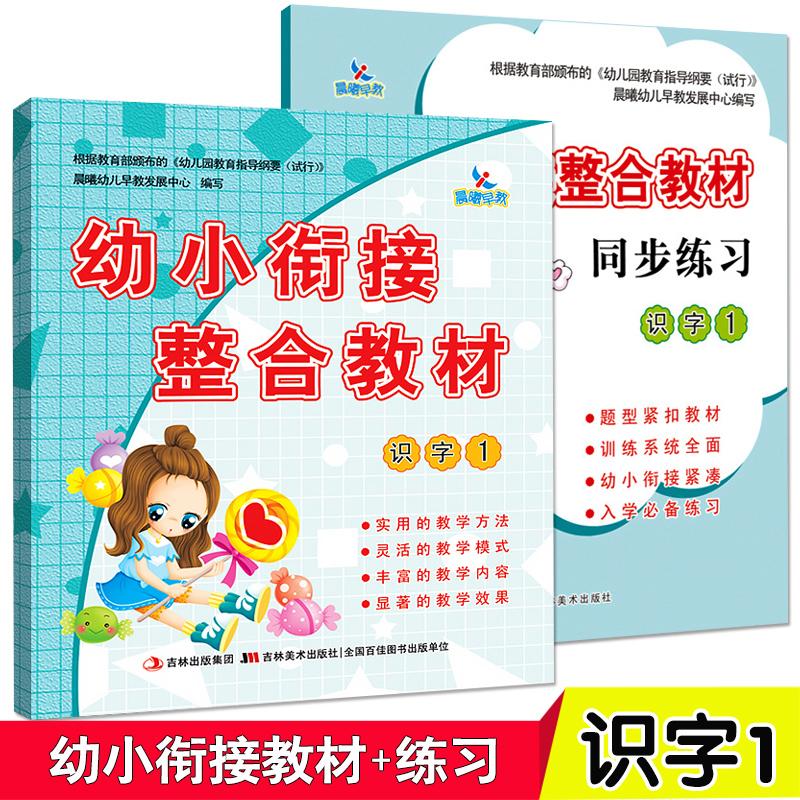 全2册 幼小衔接整合教材 识字1教材+练习册 一日一练幼儿园中班大班升一年级 学12.80元包邮