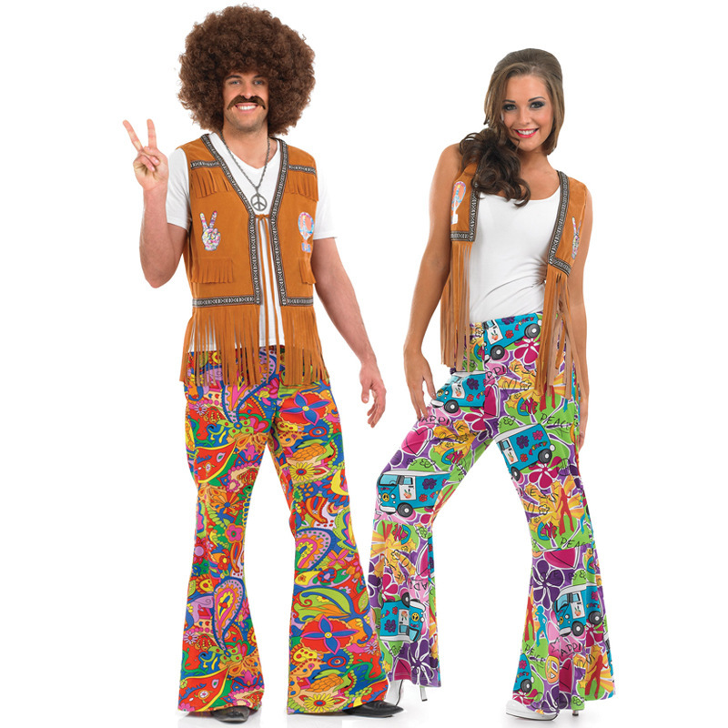 Real Size Halloween costumes for men and women couple: 70s disco Hippie Ball Costume in Europe and America