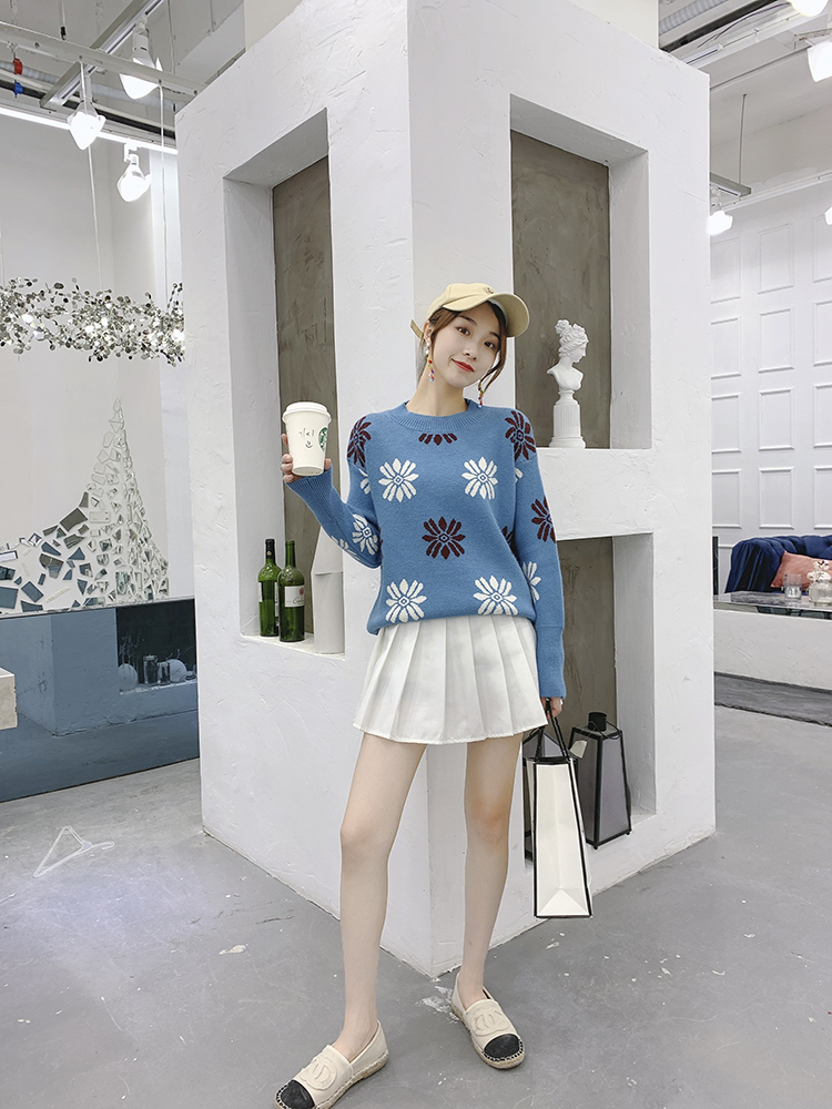 Spring 2020 new Korean version of INS fairy Pullover for womens loose and lazy jacquard pattern T-shirt