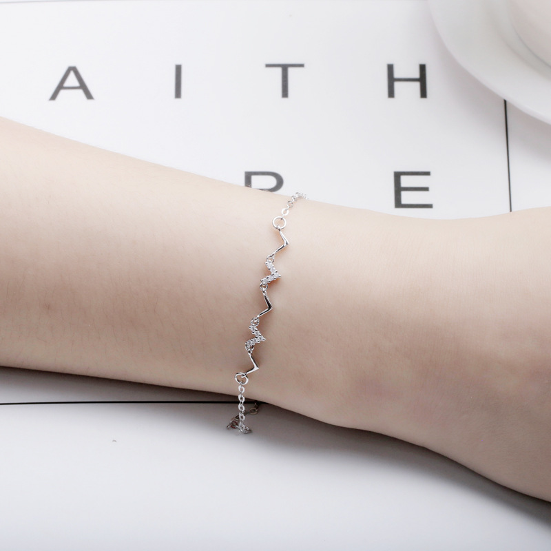 热销1件包邮纯银几何心跳ins小众设计韩版手链