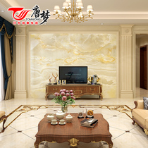 Tang Meng TV background wall European living room microcrystalline tile background Wall Stone Roman column border shape