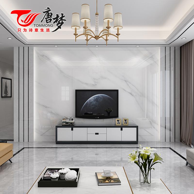 轻奢电视背景墙瓷砖唐梦客厅微晶石影视墙边框大理石造型鹏程万里