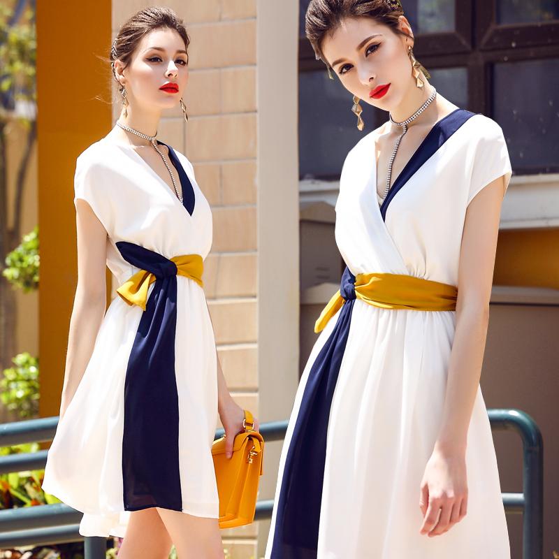 欧美高端大牌奢华名媛气质修身裙子超仙小香风法式白色连衣裙女夏