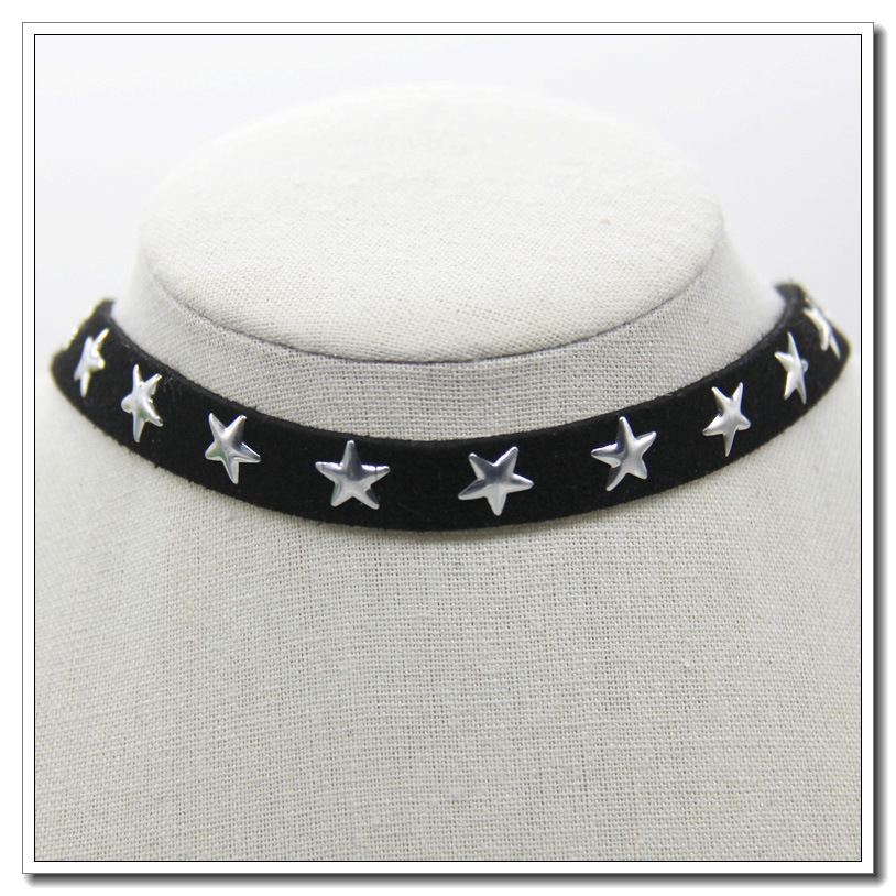 European and American Gothic neck chain Choker collar suede clavicle Necklace womens popular Star Necklace
