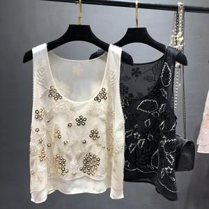 重工钉珠外穿宽松无袖背心2020夏季新款圆领亮片刺绣雪纺衫上衣女