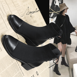 马丁靴女2019新款春秋单靴英伦风网红女鞋瘦瘦短靴百搭港味女靴子图片