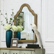 American retro French style decorative mirror bathroom mirror WALL-mounted makeup mirror solid wood frame dressing mirror