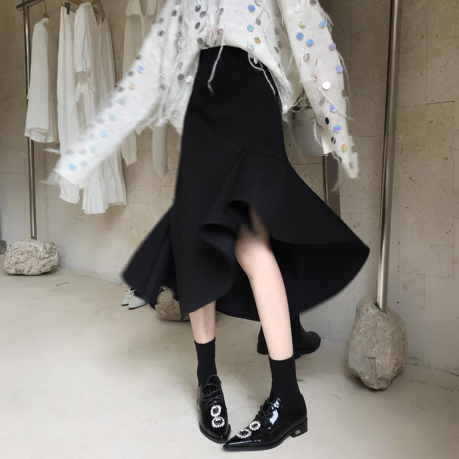 黑色垂感不规则荷叶边鱼尾裙女 秋季中长款高腰显瘦包臀a字半身裙限4000张券