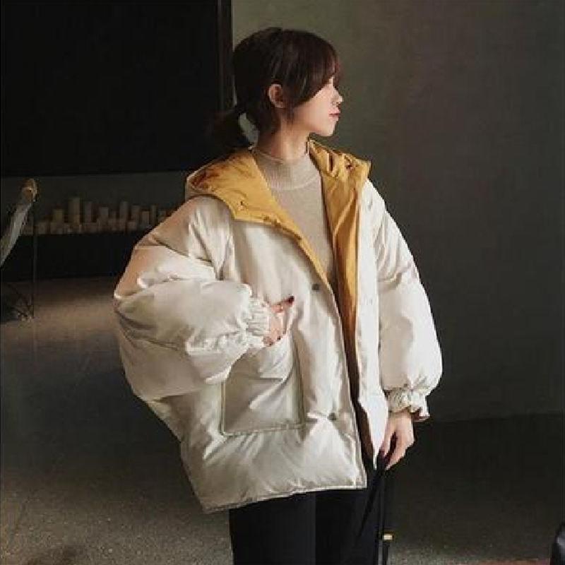City clover网红两面穿外套女短款面包服2021新款韩版冬季女外套