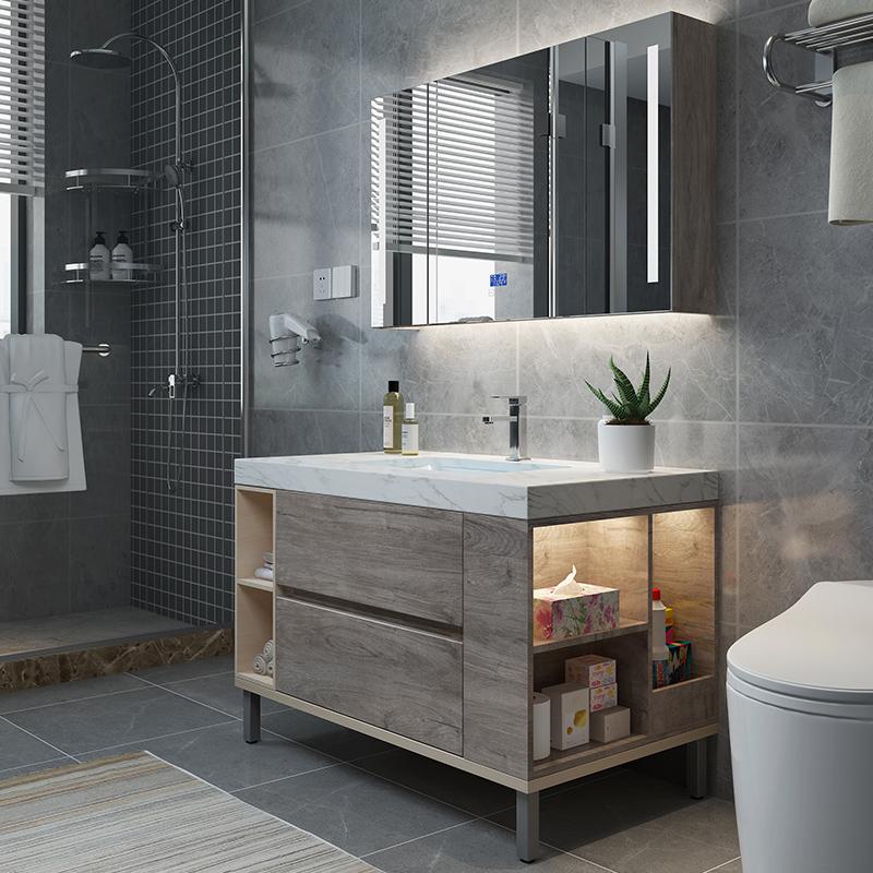 抖音同款轻奢浴室柜灰色北欧洗脸洗手台盆柜组合落地卫生间洗漱台