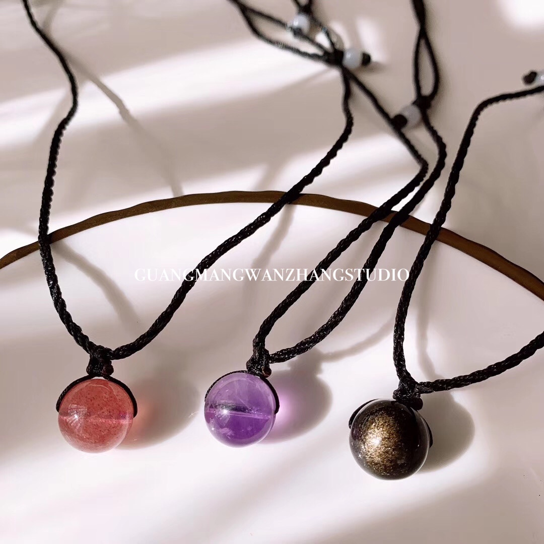Natural and simple style accessories: clavicle pendant, sea blue BMW pink green ghost Amethyst Strawberry Necklace