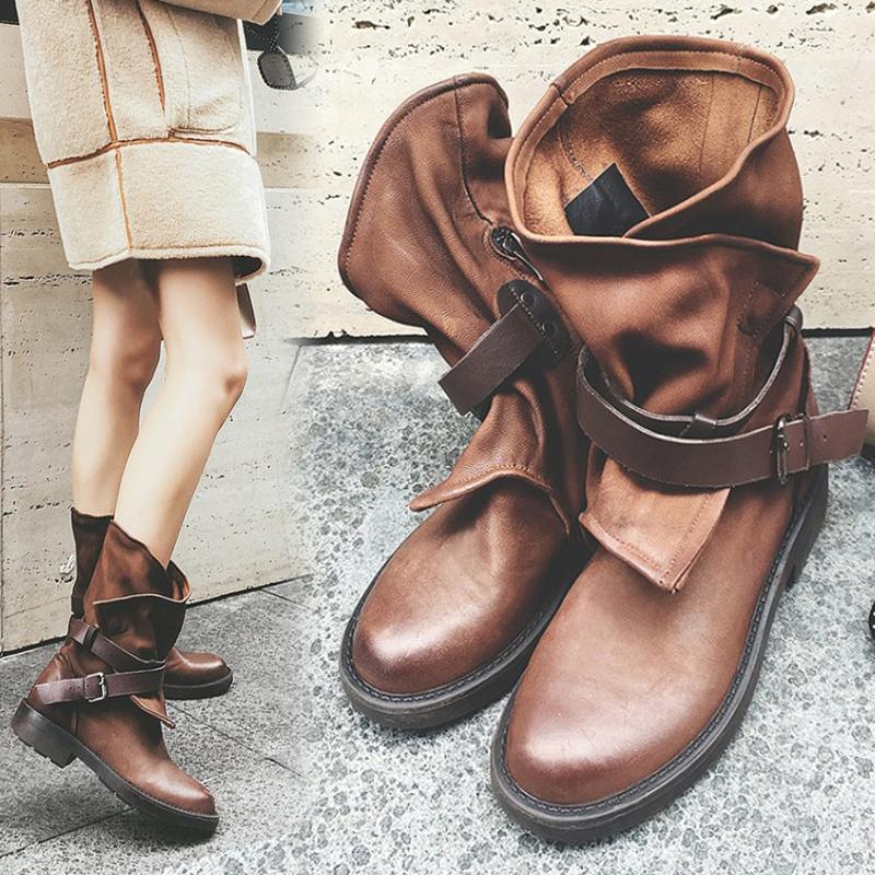 新款中筒靴女侧拉链真皮女靴马丁靴复古暗黑系做旧褶皱牛皮单靴子