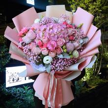 杭州鲜花速递同城玫瑰花满天星混搭花束爱人生日花店送花上门女友