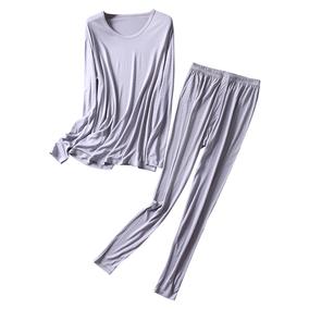 新款加棉男士圆领内衣套装秋衣睡衣