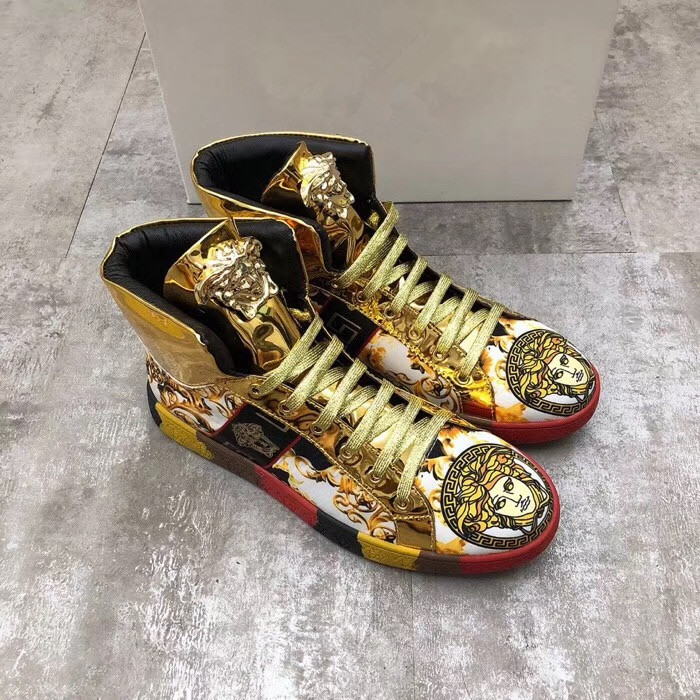 European and American new fashion trendy mens high top shoes cool personality Medusa casual shoes totem printed vasaqi board shoes