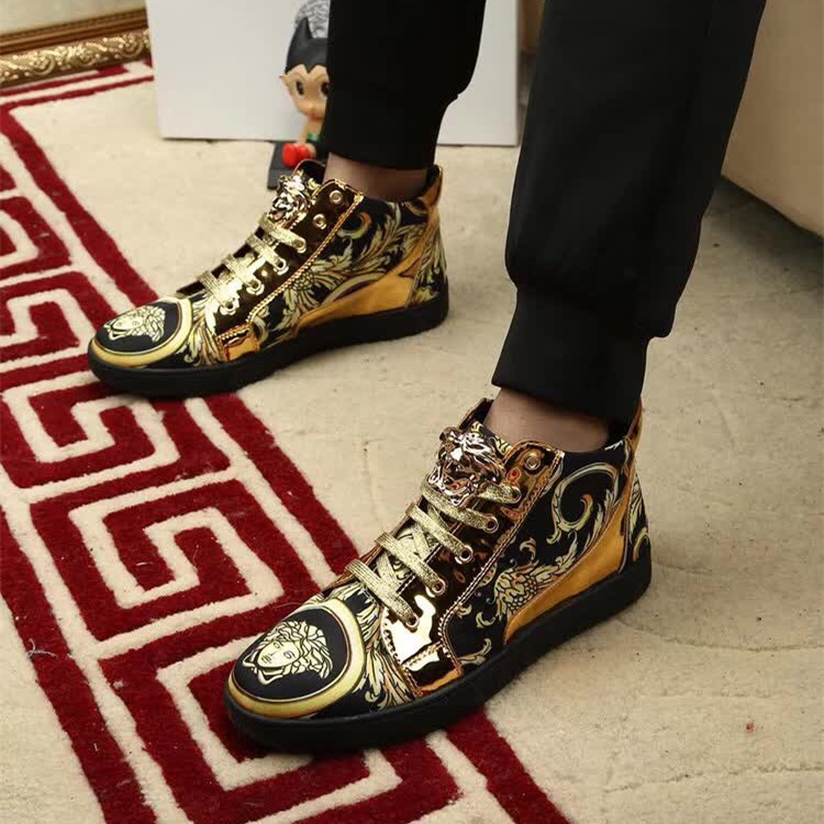 帅气舒适美杜莎男板鞋复古百搭时尚潮男高帮鞋欧洲站印花休闲潮鞋