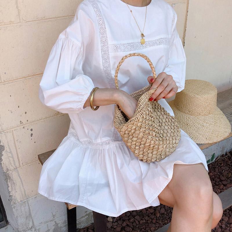 韩国chic元气少女夏季甜美减龄泡泡袖可爱娃娃裙宽松短袖连衣裙