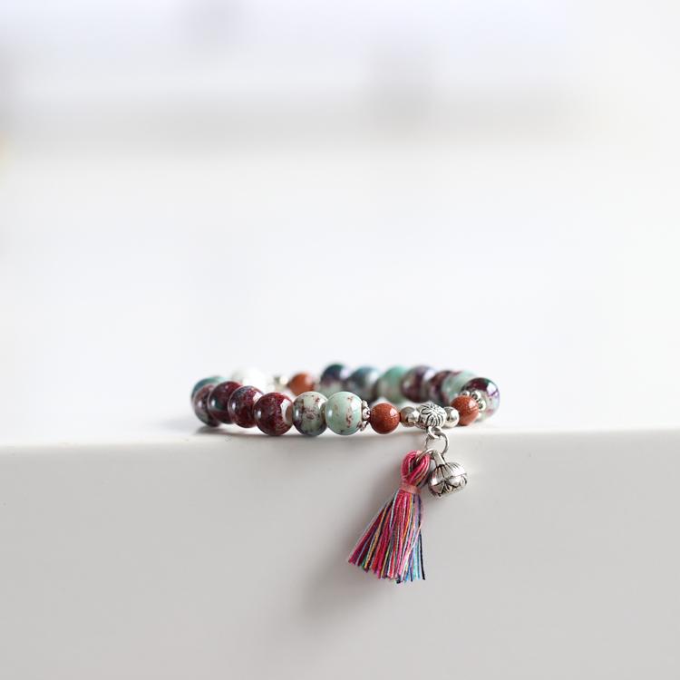 【静语疏影】原创手工DIY陶瓷手链时尚气质民族风小饰品特价542