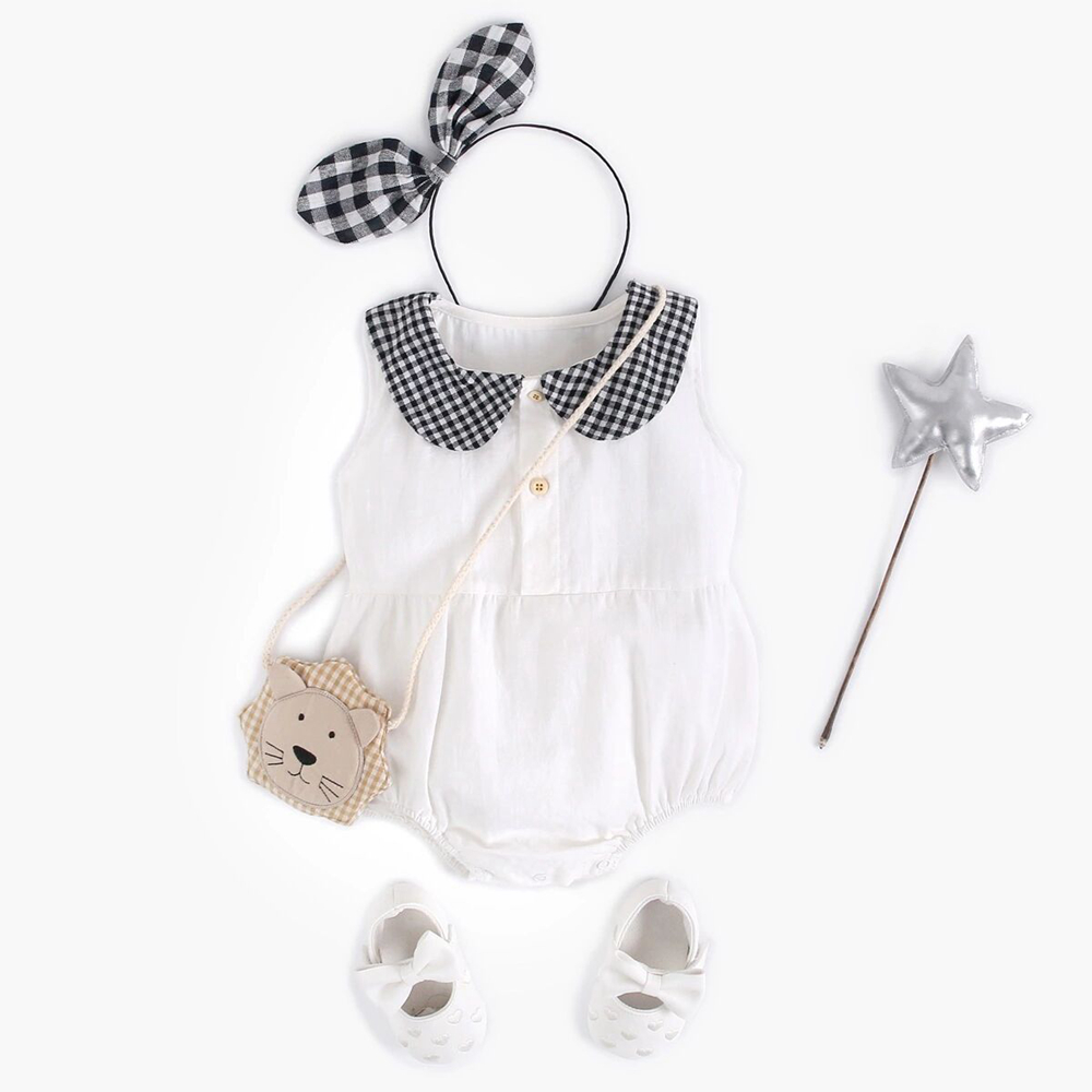 Baby englengze baby collar sleeveless triangle dress baby girl breasted Jumpsuit summer clothes