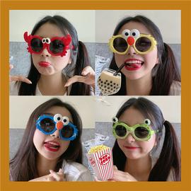 抖音少女眼镜太阳镜防紫外线可爱卡通偏光亲子硅胶翻盖墨镜防摔图片