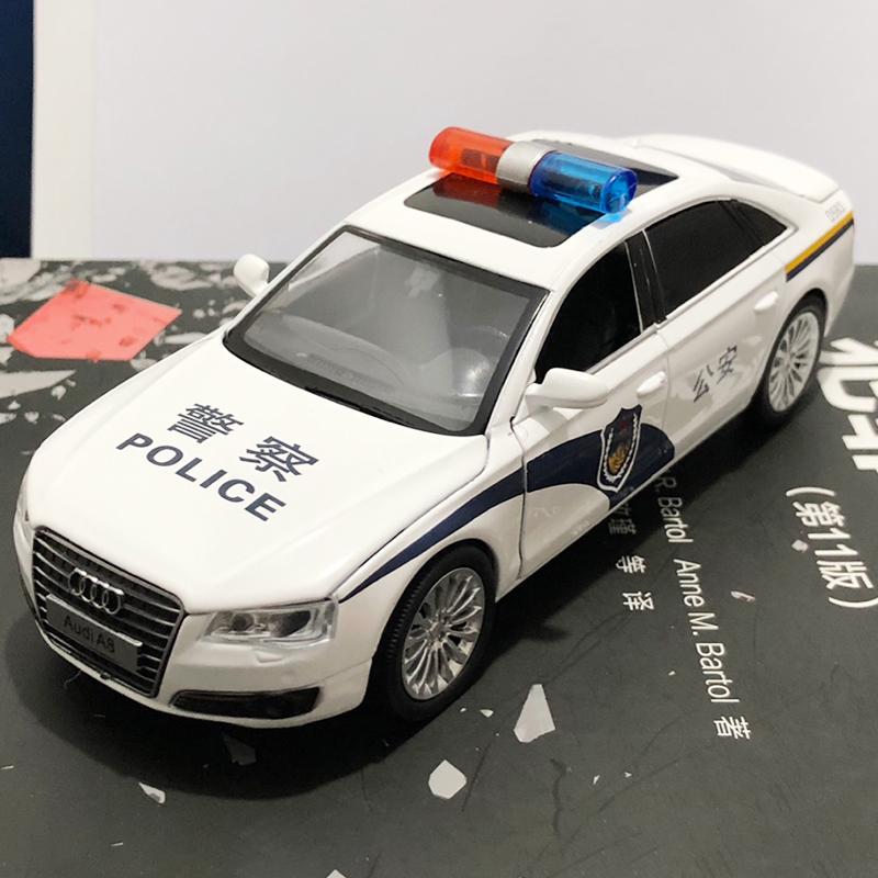 警车玩具a8轿车仿真小汽车模型儿童合金车模男孩警察车回力玩具车
