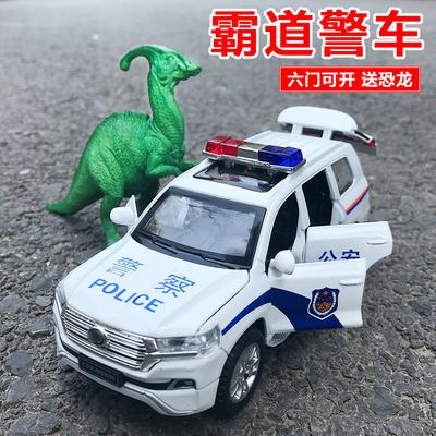 警车玩具六开门普拉多1:32合金回力警察声光儿童多门回力汽车模型