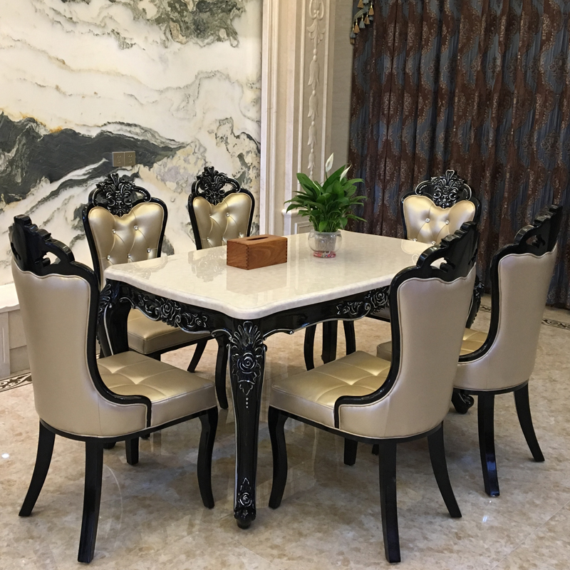 European dining table and chair combination 6-person marble small family dining table family neoclassical rectangular solid wood dining table 4