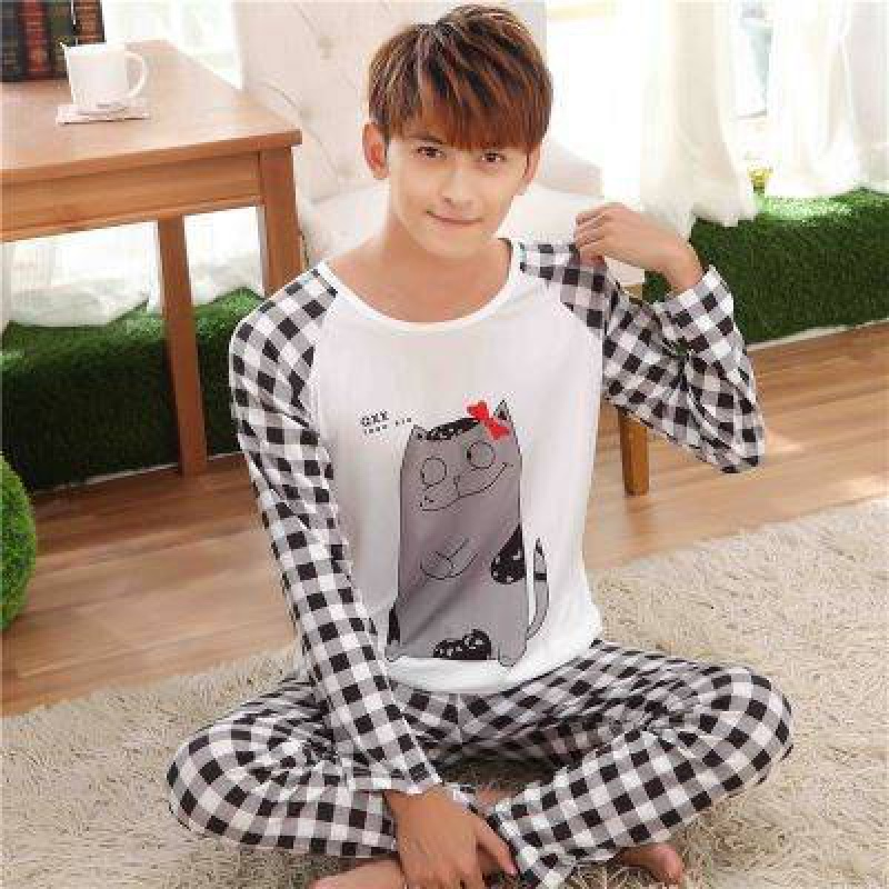 Mens pajamas long sleeve pure cotton spring and autumn summer thin cartoon mens casual mens household clothing